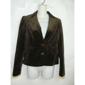 Juicy Couture Blazer Brown Velvet Ruffle Trim Sz 6